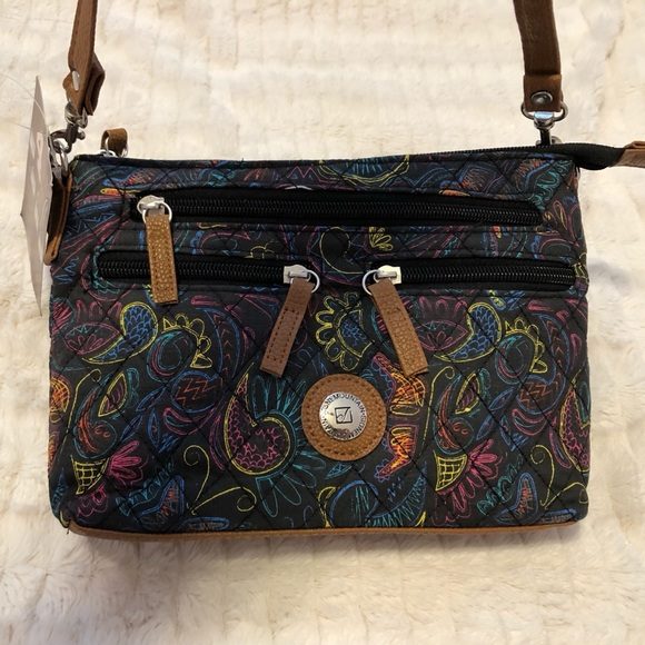 Stone Mountain Accessories Handbags - Black Purse w/ colorful detailing & 3 dif straps!